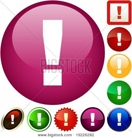 Vector exclamation button for web.