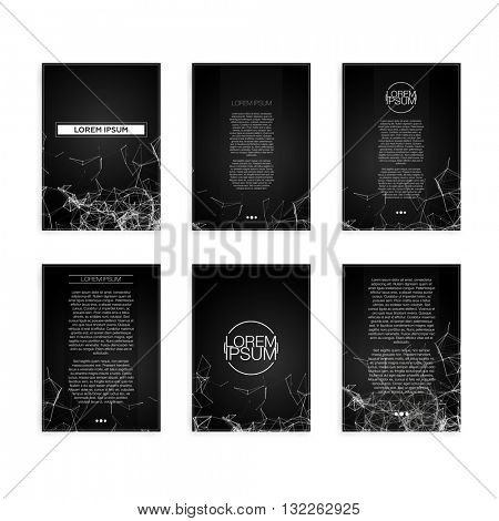 Set of Black and White Abstract Mesh Geometric Modern Flyers - EPS10 Brochure Design Templates