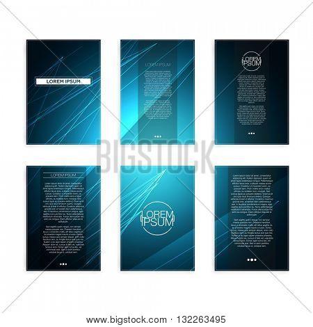 Set of Blue Abstract Geometric Line Modern Flyers - EPS10 Brochure Design Templates