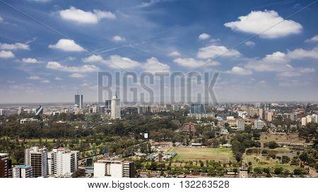 aerial view of downtown area of Nairobi, Kenya