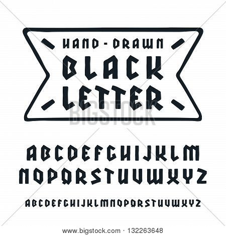 Sanserif font in black letter style with hand-drawn soft shape. Isolated on white background