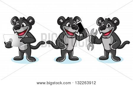 Panther Mascot Vector with laptop phone and tools
