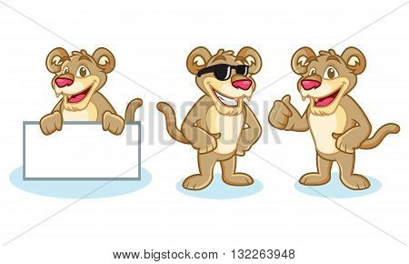 Puma Mascot Vector happy pose and bring board