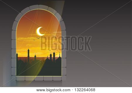 Month of Ramadan. Moon over minarets. Template greeting card. Illustration in vector format