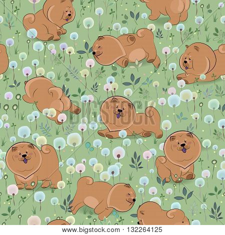 Happy dogs chow-chow on the blossoming field. Watercolor flowers and plants. seamless pattern.