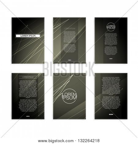 Set of Grey Abstract Geometric Line Modern Flyers - EPS10 Brochure Design Templates