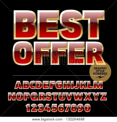 Royal golden and red set of alphabet letters, numbers and punctuation symbols. Vector promotion poster with text Best offer