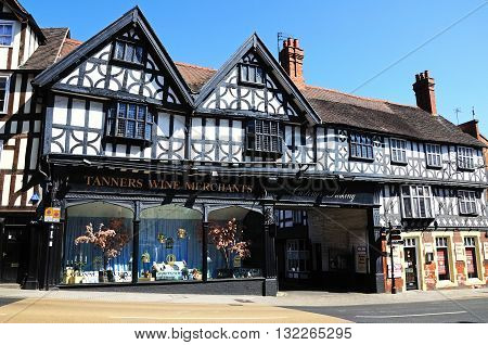 SHREWSBURY, UK - APRIL 22, 2015 - Tanners Wine Merchants timber-framed building Shrewsbury Shropshire England UK Western Europe, April 22, 2015.