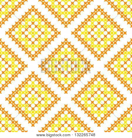 Isolated seamless texture with yellow and orange abstract patterns for tablecloth.Embroidery.Cross stitch.