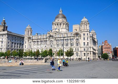 LIVERPOOL, UK - JUNE 11, 2015 - Port of Liverpool Building formerly known as the Mersey Docks and Harbour Board Office at Pier Head Liverpool Merseyside England UK Western Europe, June 11, 2015.