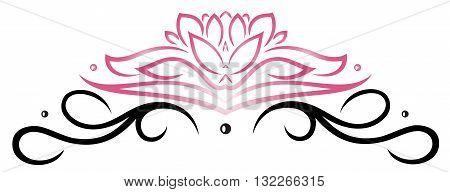 Filigree Lotus flower, floral vector rose, pink and black.