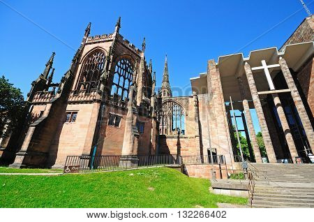 COVENTRY, UK - JUNE 4, 2015 - Front view and entrance to the old an new Cathedrals Coventry West Midlands England UK Western Europe, June 4, 2015.