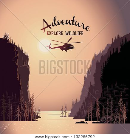 Mountain landscape from lakes and design element with silhouette helicopter. Taiga. Evening light sunset. Illustration about expedition.