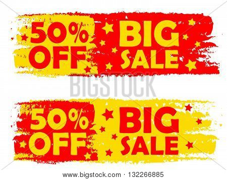 50 percentages big sale - text in yellow and red drawn labels with stars, business shopping concept, vector