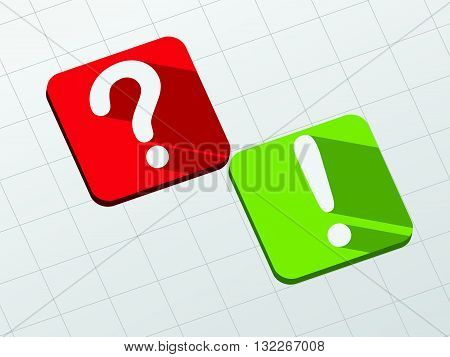 question and exclamation signs - symbol in red and green flat design blocks, business concept, vector