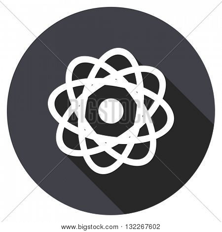 atom vector icon, round flat design button, web and mobile app illustration