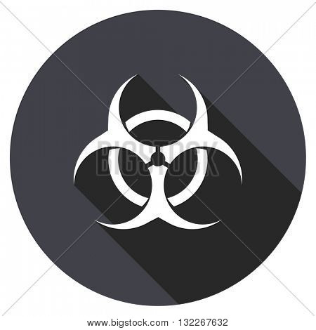 biohazard vector icon, round flat design button, web and mobile app illustration