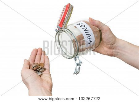 Hands holds jar with coins. Isolated on white background.