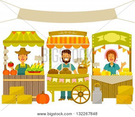 farmers selling their products on wooden stalls