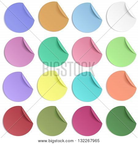 Set of pastel color round paper sticker with edge curl isolated