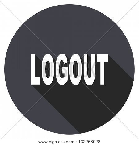 logout vector icon, round flat design button, web and mobile app illustration
