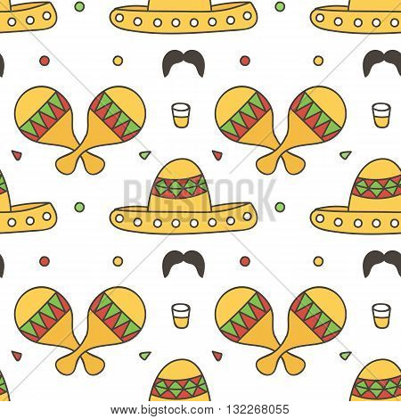 Mexican seamless pattern background with maracas, sombrero, tequila. Cinco de Mayo background.
