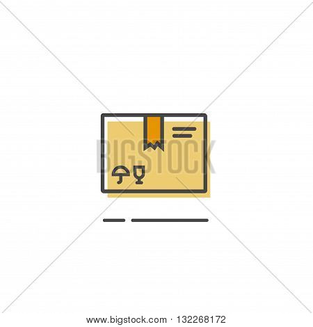 Parcel box icon isolated, closed simple flat parcel package box outline line style