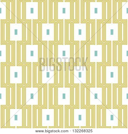 Geometric abstract vector background. Seamless modern pattern. Golden and white rectangular pattern
