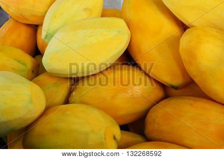 Ripe Mangoes, Ripe mango on the thai market. Selective focus