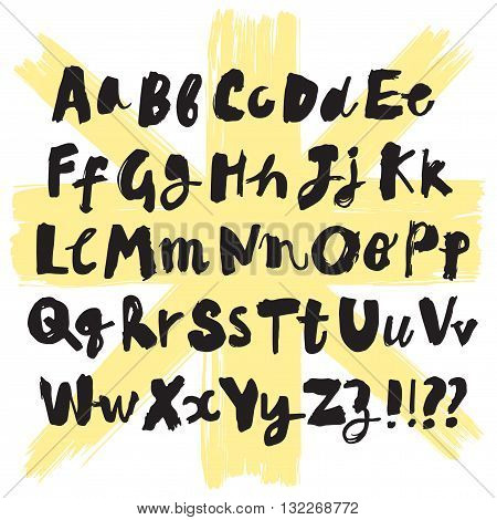 Hand drawn brush ink vector ABC letters set. Expressive textured font for your design.
