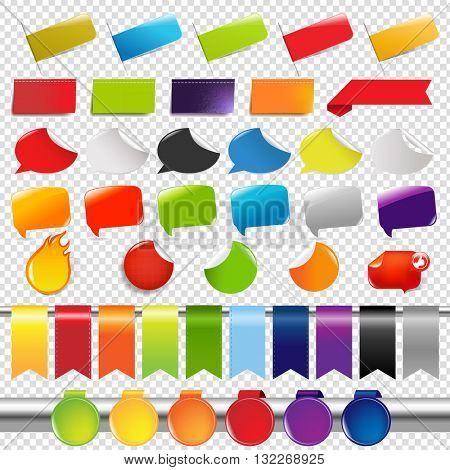Set Of Color Sale Stickers And Labels, Isolated on Transparent Background