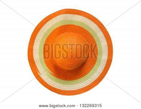 orange floppy hat isolated on white background