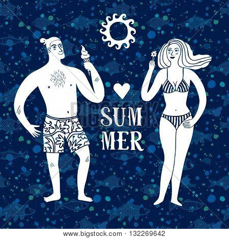 Sea cartoon illustration with man and woman wearing beachwear. Summertime illustration with decorative fish background.