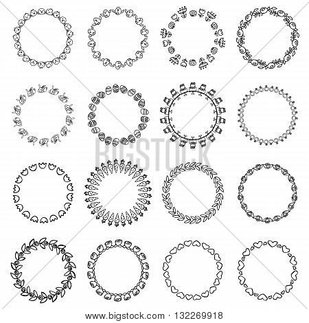 Round black and white border frame with doodle flowers and animals . Can be used for decoration and design photo frame menu card scrapbook album. Vector Illustration