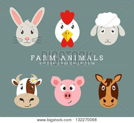 Farm animals. Set of cute animals head isolated on clean background. Vector flat icons.