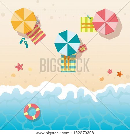 People sunbathing on the beach under the umbrellas. Summer holidays background. Vector beach with waves, seashells , starfish, umbrellas.