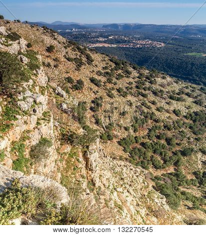 Mountain landscape view of the mountainous area of Upper Galilee Israela