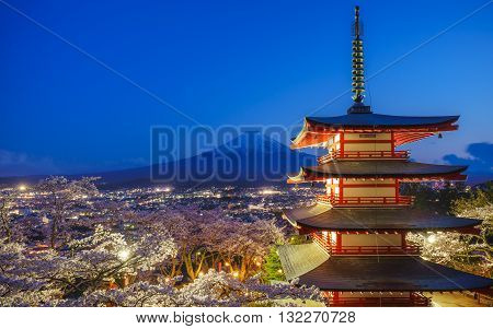 Mt. Fuji with Chureito Pagoda at night Fujiyoshida Japan