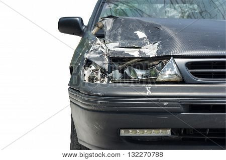 front view of car crash isolated on white background