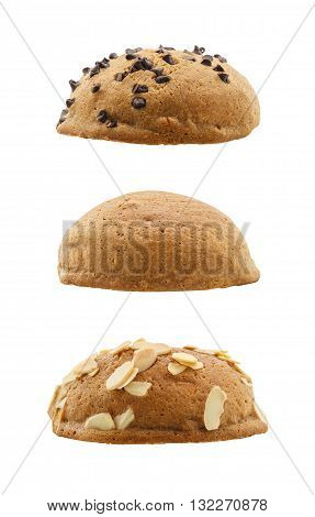 set of sweet buns isolated on white background (Mexican coffee buns)