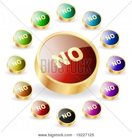 """NO"" button. Vector set."