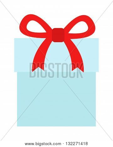 Blue gift with red ribbon and gift box with bow. Gift box vector illustration and holiday christmas present gift box. Celebration birthday decoration gift box greeting event shiny party symbol.
