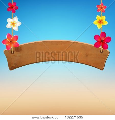 Wooden Sign With Frangipani