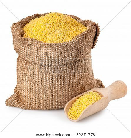 Millet sack with scoop isolated on white background. Millet in burlap bag. Millet isolated on white