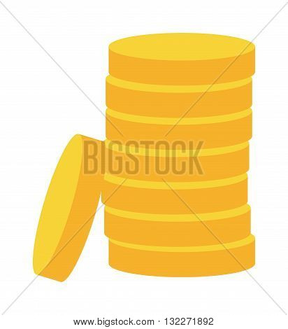 Stacks of gold money coins. Income money coins and money coins profits cash wealth gold concept banking. Money coins isolated on white background. Money coins vector illustration payment exchange.
