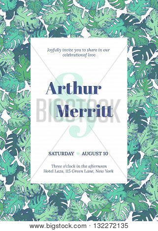 Vector set of invitation with handmade floral elements and exotic palm leaves. Modern Wedding Collection. Green blue hipstre invitation to the feast.