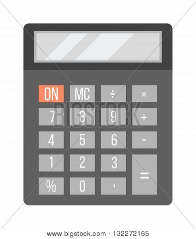Mathematics business calculator technology vector icon. Electronic calculator financial display sign design. School calculator and graphic count calculator. Mathematical balance business calculator.