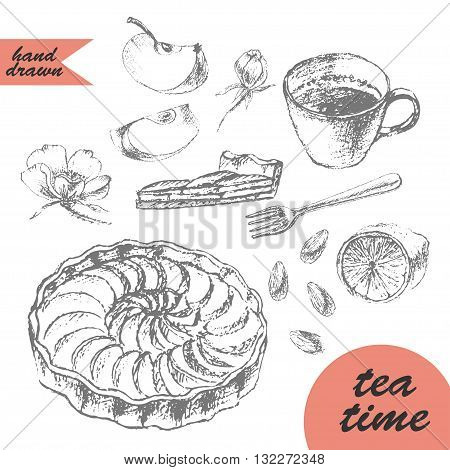 Hand drawn pencil sketch of tea and dessert. Apple tart tea cup lemon fork cake cut almond flowers and apple slice.