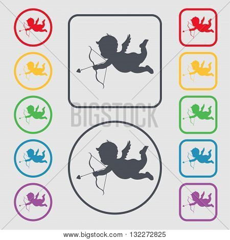 Cupid Icon Sign. Symbol On The Round And Square Buttons With Frame. Vector