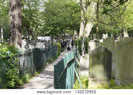 London England - May 19 2016: A walk through the Bunhill fields burial grounds in London England.